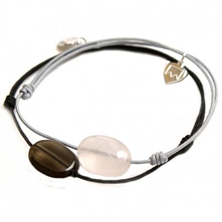 Ensemble 2 bracelets cordon noir quartz fumé / gris quartz rose