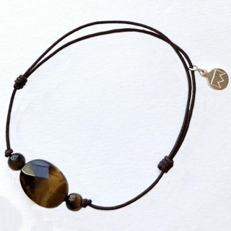 Bracelet 3 pierres quartz roses cordon marron pendant argent massif 925