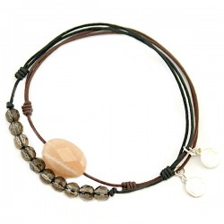Ensemble 2 bracelets cordon noir quartz fumés et marron pierre de lune facettée