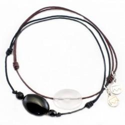 Ensemble 2 bracelets cordon marron quartz rose facetté et noir 3 onyx