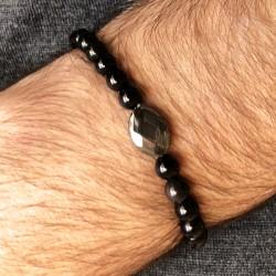 Bracelet homme cordon Noir Quartz fumé