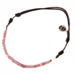 Bracelet cordon noir tourmalines roses facettées