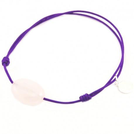 Bracelet cordon violet Quartz rose