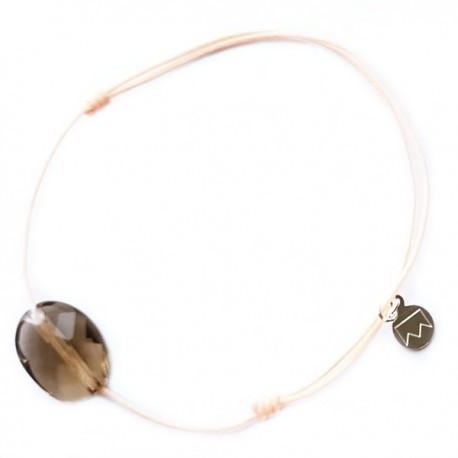Bracelet quartz fumé cordon rose