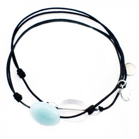 Ensemble 2 bracelets cordon noir 3 cristaux de roches et amazonite