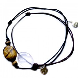 Ensemble 2 bracelets cordon noir 11 Onyx et 3 cristal de roches