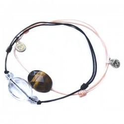 Ensemble 2 bracelets cordon bleu 3 quartz fumés et marine cristal de roche facetté
