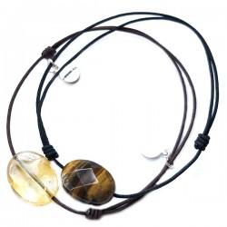 Ensemble 2 bracelets cordon marron cornaline et 7 chakras