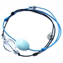 Ensemble 2 bracelets cordon noir 11 quartz fumés et marron pierre de lune facettée
