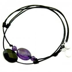 Ensemble 2 bracelets cordon marron 3 oeils de tigre et noir cristal de roche