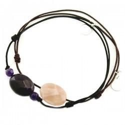 Ensemble 2 bracelets cordon noir labradorite et marron pierre de lune facettée