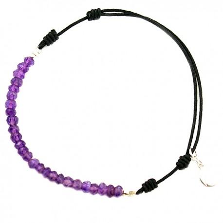 Bracelet cordon Améthyste taillée à la main