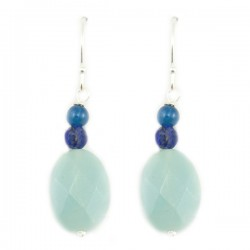 Boucles d'oreilles argent massif 925 amazonite facettée un lapis lazuli et une apatite