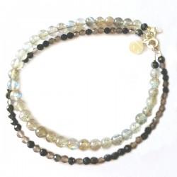 Ensemble 2 bracelets lépidolite et corail