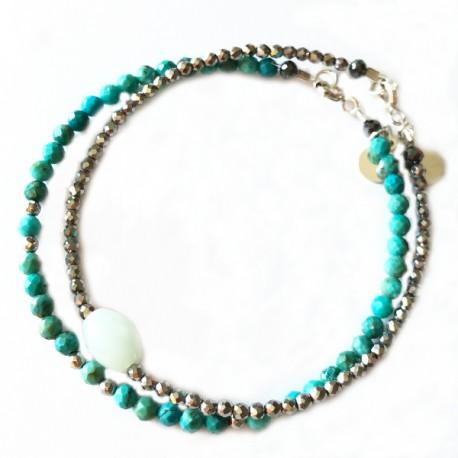 Ensemble 2 bracelets onyx et corail