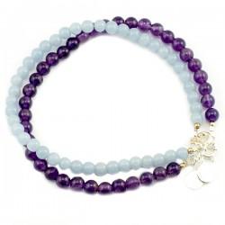 Ensemble 2 bracelets améthystes et angélites lisses