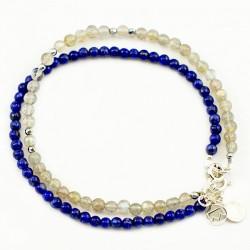 Ensemble 2 bracelets amazonites et pierres de lunes facettées