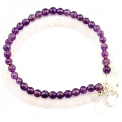 Ensemble 2 bracelets Améthystes et quartz roses