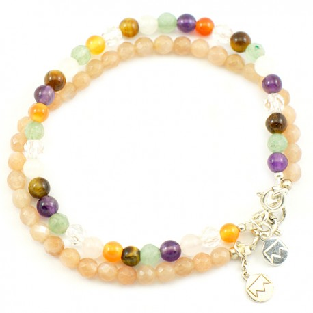 Ensemble 2 bracelets malachites et onyx facettés