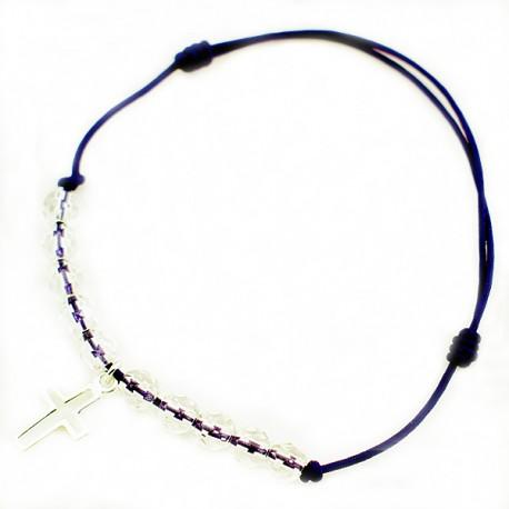 Bracelet cordon noir 10 Cristaux de roche