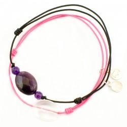 Ensemble 2 bracelets cordon noir labradorite et améthyste facettée