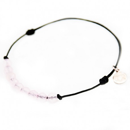 Bracelet cordon Noir 11 Quartz roses