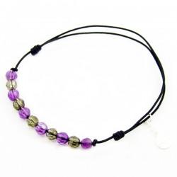 Bracelet cordon Noir 11 pierres