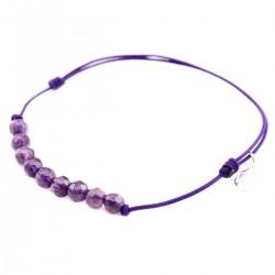 Bracelet cordon violet Améthystes 11 pierres facettées