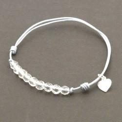 Bracelet cordon gris 11 Cristaux de roches