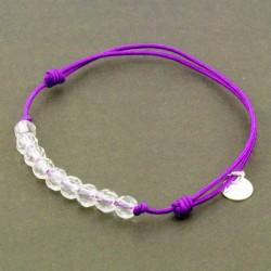 Bracelet cordon violet 9 Cristaux de roche