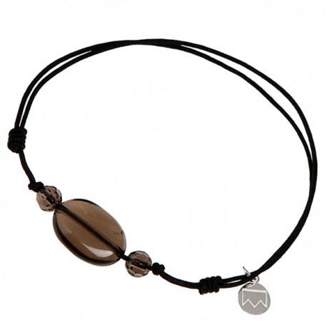 Bracelet 3 pierres quartz fumé cordon noir pendant argent massif 925