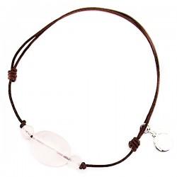 Bracelet 3 Quartz roses cordon marron pendant argent massif 925