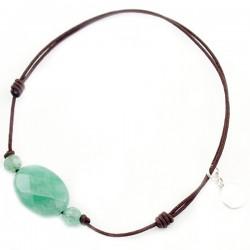 Bracelet 3 Aventurines vertes facettées cordon marron pendant argent massif 925