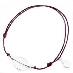 Bracelet 3 pierres cristal de roches cordon marron pendant argent massif 925
