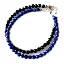 Ensemble 2 bracelets Onyx et lapis lazulis facettés