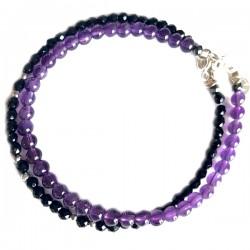 Ensemble 2 bracelets Améthystes et lapis lazulis