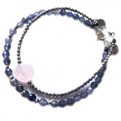 Ensemble 2 bracelets malachite et onyx