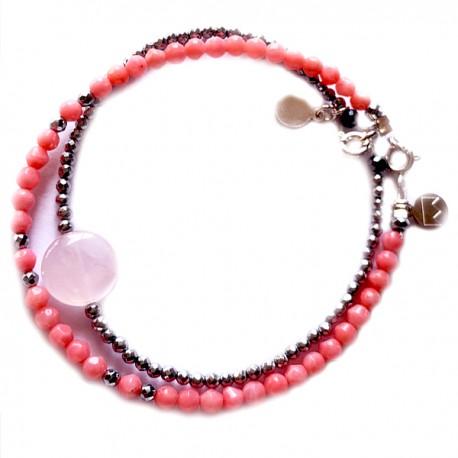 Ensemble 2 bracelets onyx facettés et angélites