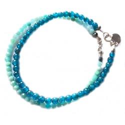 Ensemble 2 bracelets Apatite et onyx facetté