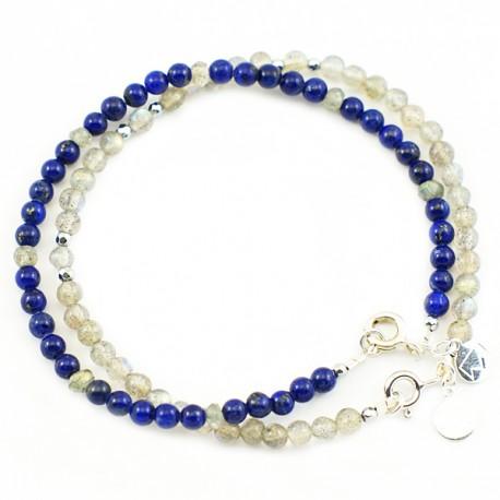 Ensemble 2 bracelets labradorites et lapis lazulis lisses