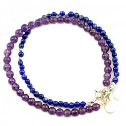 Ensemble 2 bracelets Améthystes et lapis lazulis lisses