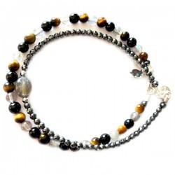 Ensemble 2 bracelets jades et amazonites lisses