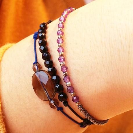 Bracelet 3 pierres quartz fumé facettés cordon noir pendant argent massif 925
