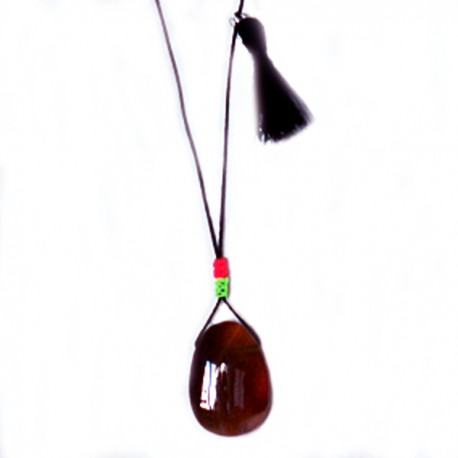 Sautoir cordon noir cornaline