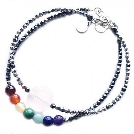 Ensemble 2 bracelets chakras et quartz rose