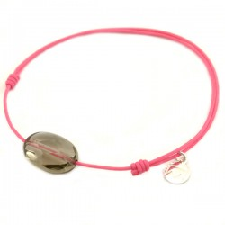 Bracelet cordon fushia quartz fumé facetté pendant argent massif