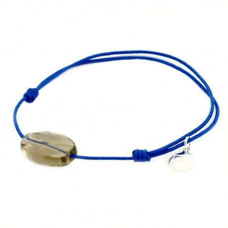Bracelet cordon bleu quartz fumé facetté pendant argent massif