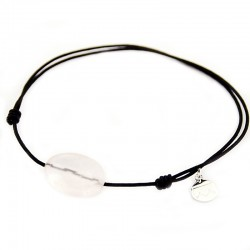 Bracelet cordon noir Quartz rose