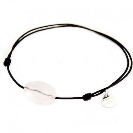 Bracelet cordon noir Quartz rose