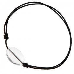 Bracelet homme cordon Noir Cristal de roche
